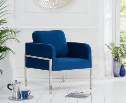 Breva Blue Velvet Accent Chair