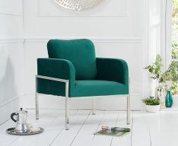 Breva Green Velvet Accent Chair