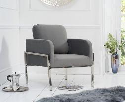Breva Grey Velvet Accent Chair