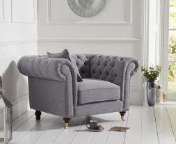 Camara Chesterfield Grey Linen Armchair