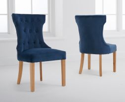 Courtney Blue Velvet Dining Chairs (Pairs)