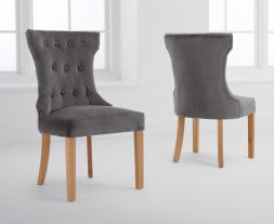 Courtney Grey Velvet Dining Chairs (Pairs)