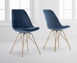 Calabasus Blue Velvet Gold Leg Dining Chairs (Pairs)