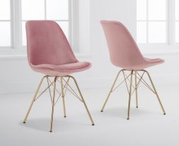 Calabasus Blush Velvet Gold Leg Dining Chairs (Pairs)