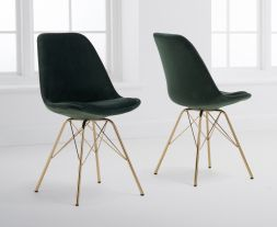 Calabasus Green Velvet Gold Leg Dining Chairs (Pairs)