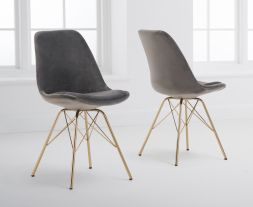 Calabasus Grey Velvet Gold Leg Dining Chairs (Pairs)