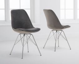 Calabasus Grey Velvet Chrome Leg Chairs (Pair)