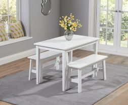 Chichester 115cm White Dining Set With 2 Benches