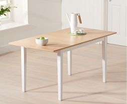 Chichester Solid Hardwood & Painted 120cm Extending Dining Table (Oak & White)