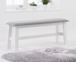 Chichester White/Grey Fabric Padded Large Bench