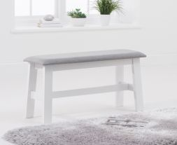 Chichester White/Grey Fabric Padded Small Bench