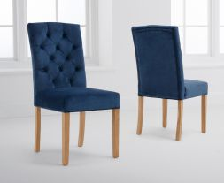 Clarissa Blue Velvet Dining Chairs (Pairs)