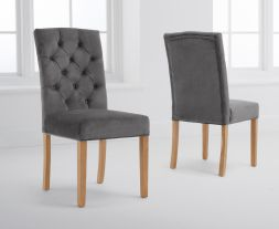 Clarissa Grey Velvet Dining Chairs (Pairs)