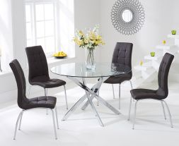 Daytona 110cm Glass Dt With 4 Brown California Chairs