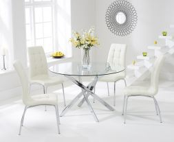 Daytona 110cm Glass Dt With 4 Cream California Chairs