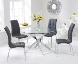 Daytona 110cm Glass Dt With 4 Charcoal Grey California Chairs
