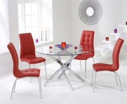 Daytona 110cm Glass Dt With 4 Red California Chairs