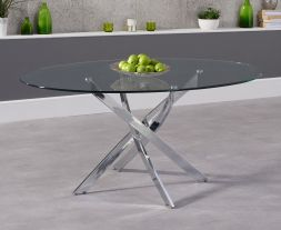 Daytona 165cm Oval Glass Dining Table