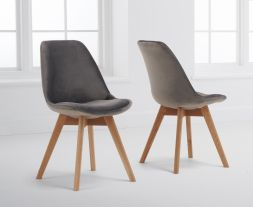 Dannii Grey Velvet Dining Chairs (Pairs)