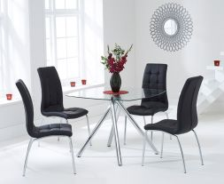 Elba 100cm Glass Dt With 4 Black California Chairs