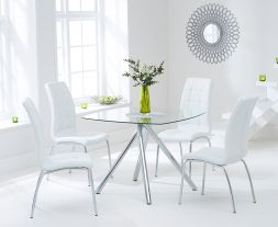 Elba 100cm Glass Dt With 4 Ivory-White California Chairs