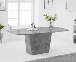 Fariah 200cm Light Grey Marble Dining Table