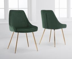 Florida Green Velvet Dining Chairs (Pairs)