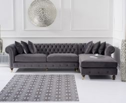 Fiona Grey Velvet Right Facing Chesterfield Chaise Sofa