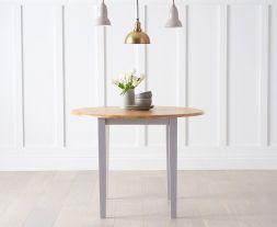 Genovia Oak And Grey 100cm Drop Leaf Extending Dining Table