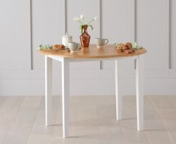 Genovia Oak And White 100cm Drop Leaf Extending Dining Table