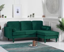 Liam Green Velvet 3 Seater Reversible Chaise Sofa