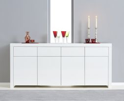 Hereford 4 Door 4 Drawer White High Gloss Sideboard