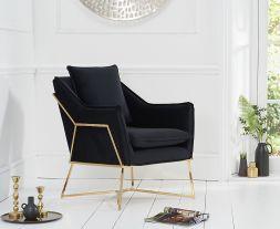 Larna Black Velvet Accent Chair