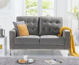 Lillian Grey Velvet 2 Seater Sofa