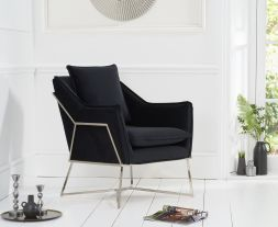 Larna Black Velvet Accent Chair with Chrome Legs