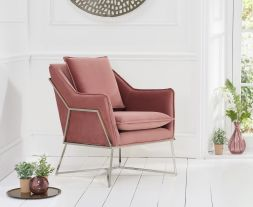 Larna Blush Velvet Accent Chair with Chrome Legs
