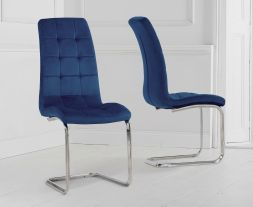 Lucy Blue Velvet Dining Chairs (Pairs)