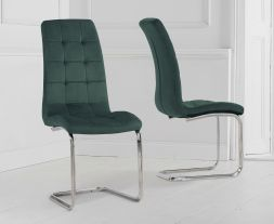 Lucy Green Velvet Dining Chairs (Pairs)