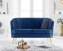 Lucena Blue Velvet 2 Seater Sofa
