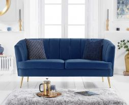 Lucena Blue Velvet 3 Seater Sofa