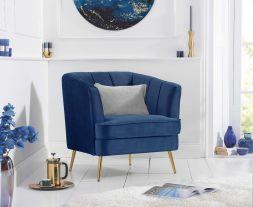 Lucena Blue Velvet Armchair
