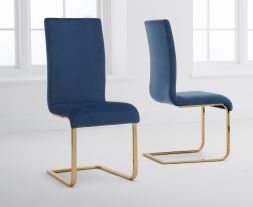 Malibu Blue Velvet Gold Leg Dining Chairs (Pairs)