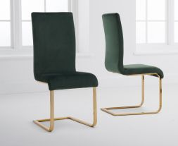 Malibu Green Velvet Gold Leg Dining Chairs (Pairs)