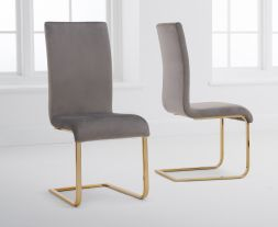 Malibu Grey Velvet Gold Leg Dining Chairs (Pairs)