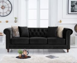 Montrose Chesterfield Black Velvet 3 Seater Sofa