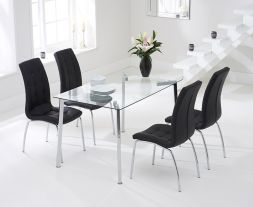 Munich 130cm Glass Dt With 4 Black California Chairs
