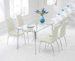 Munich 130cm Glass Dt With 4 Cream California Chairs