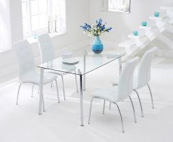 Munich 130cm Glass Dt With 4 Ivory-White California Chairs