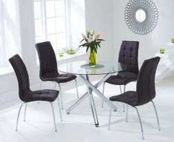 Odessa 100cm Glass Dt With 4 Brown California Chairs