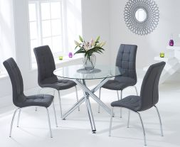 Odessa 100cm Glass Dt With 4 Charcoal Grey California Chairs